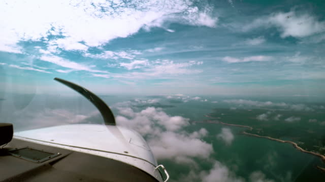 Flying a Single Engine Propeller Plane Over Gorgeous Bar Harbor, Maine Flying, In Flight, Pilot - Flying Over Acadia National Park in a Single Engine Propeller Aircraft. propeller airplane stock videos & royalty-free footage