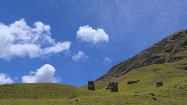 DRONE Flying above empty meadows leading up towards the volcano on Easter Island video