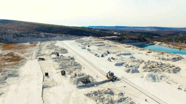 AERIAL: Flying above limestone quarry video