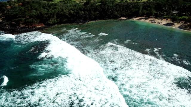 Flying Above Long Waves Breaking on Maui Shoreline video