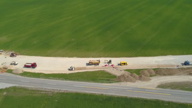 DRONE: Flying above machinery and workers as new pipeline is under construction.
