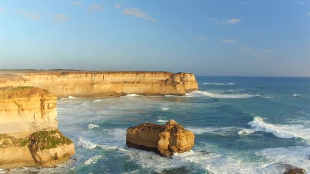 AERIAL: Flying above magnificent limestone formations rising from shallow water video