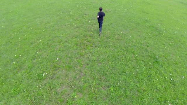 volare sopra di uomo che corre su prato - top nero video stock e b–roll