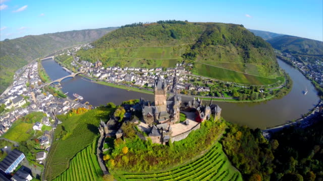 Flying above old century castle, small village river vine hills. Beautiful aerial shot above Europe, culture and landscapes, camera pan dolly in the air. Drone flying above European land. Traveling sightseeing, tourist views of Germany. video