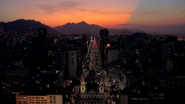 Flying above Rio de Janeiro Downtown street at Dusk, Brazil video