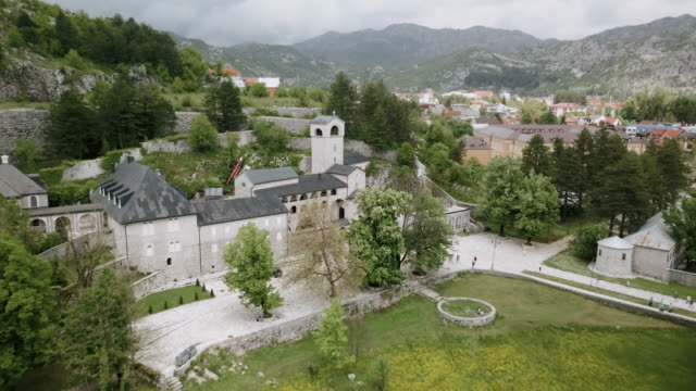 Flying above the Cetinje monastery, Montenegro - aerial shoot