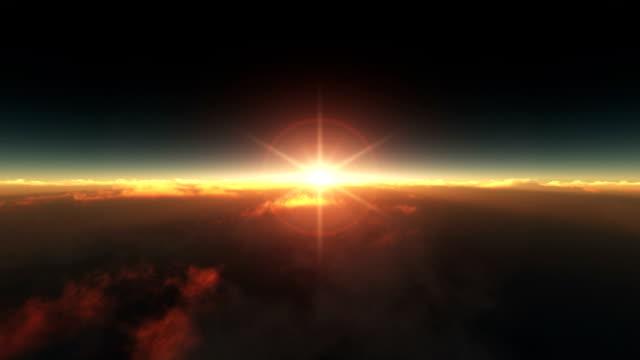 Volar por encima de las nubes sunrise - vídeo