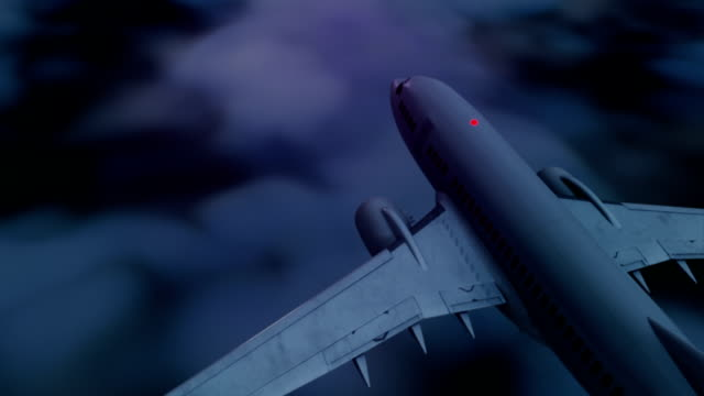 Flying Aircraft above the clouds at night. video