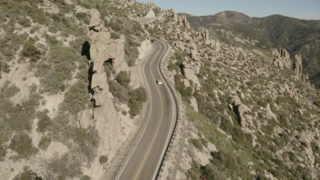 Flying along a winding mountain road on Mt. Lemmon in Tucson