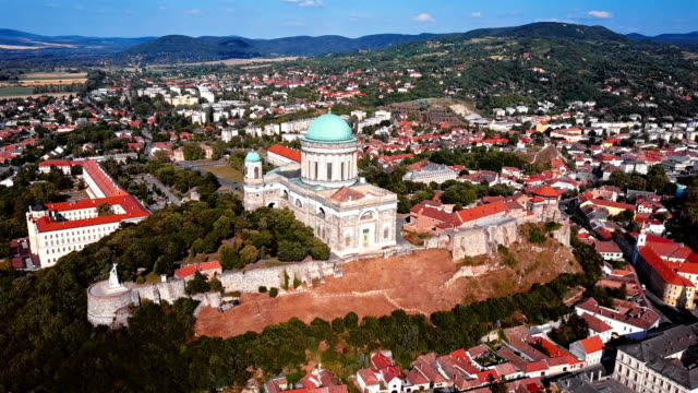 Flying around Cathedral of Esztergom, near Budapest, Hungary video