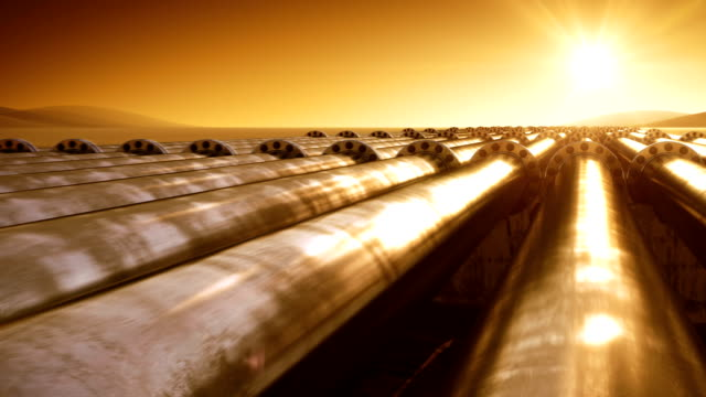 Flying at Pipelines Route Endless. Looped 3d animation. HD 1080. Steel Pipelines. Technology and Transportation Business Concept. Orange Sunset Scene. video