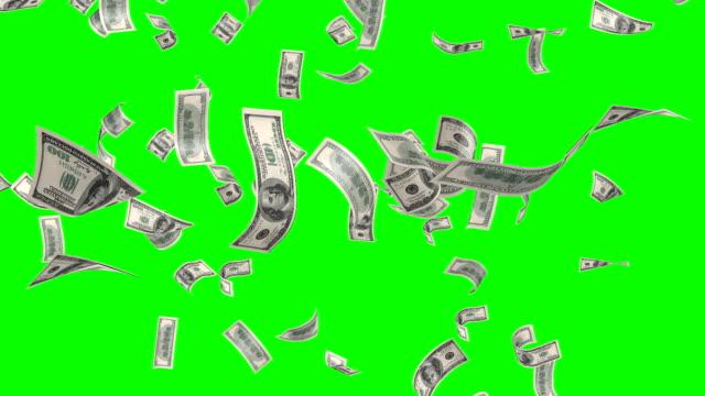 フライング banknotes のドルです。 絶縁緑のアルファ - 紙幣点の映像素材/bロール