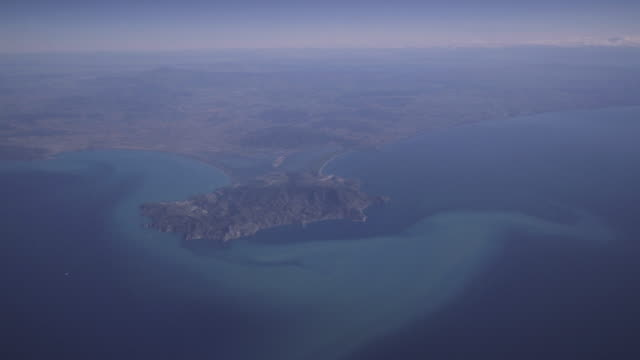 Flying by a airplane over the Argentario peninsula video