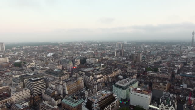 Flying By Centre London Piccadilly Circus and Leicester Square, England 4K UHD video