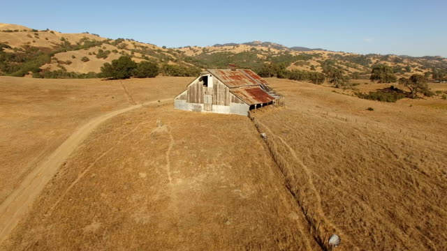 Flying by Old Rusted Barn in California video