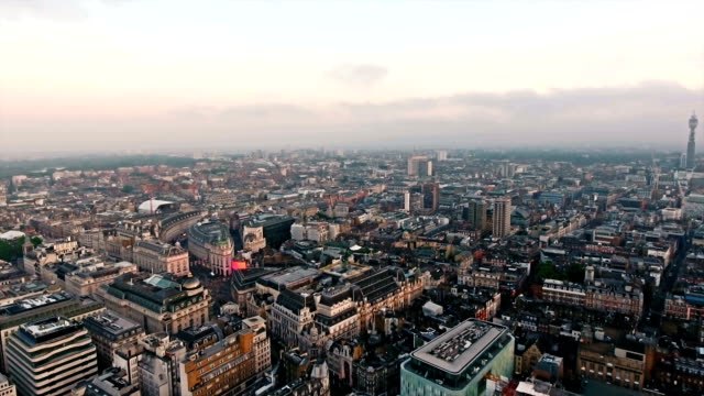 Flying By Piccadilly Circus and Leicester Square, London, England, Sunrise video