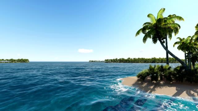 vídeos y material grabado en eventos de stock de sobrevolando cerca de las islas tropicales en el océano - micronesia