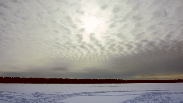 flying clouds in winter timelapse