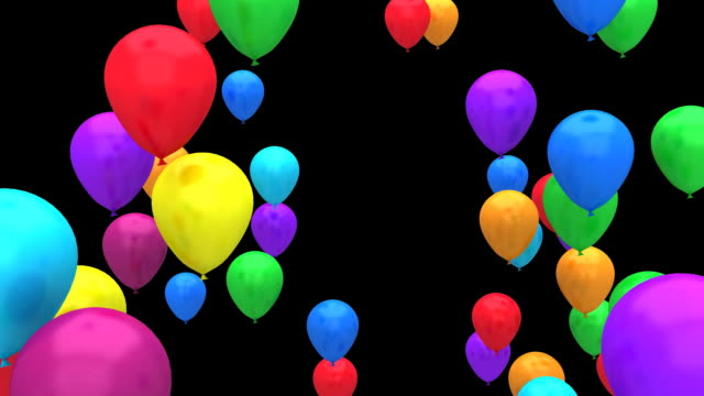 Flying colour balloons HD 1080p video
