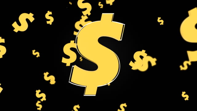Flying currency signs of dollar on black background, 3d Illustration, computer render video