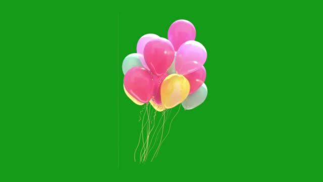 Flying decorative balloons motion graphics with green screen background Flying decorative balloons motion graphics with green screen background hot air balloon stock videos & royalty-free footage