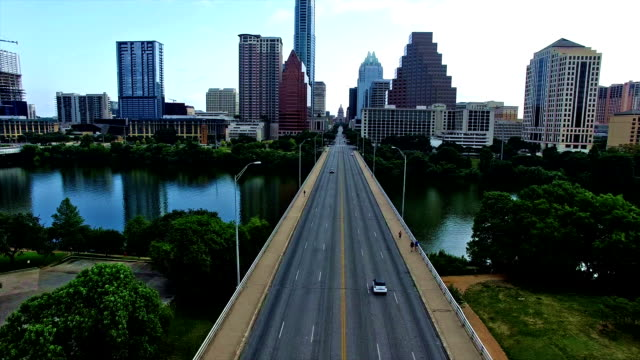 Flying Directly Towards Texas State Capitol Building Over Congress Bridge Austin Texas Landmark View Over Town Lake video