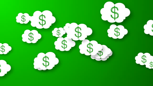 Flying dollars animation on green background. video