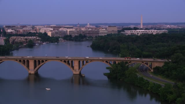 Flying down the Potomac River with D.C. in the distance.