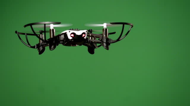 Flying drone indoor with removable green screen video