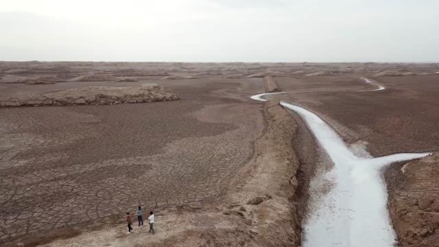 Flying drone over Desert Lut.