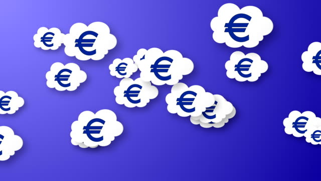 Flying euros animation on blue background. video