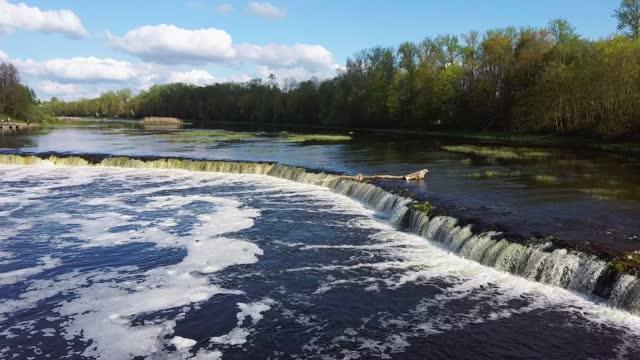 vídeos de stock e filmes b-roll de flying fish at ventas rumba waterfall. the widest waterfall in europe in latvia kuldiga also called goldingen - letónia