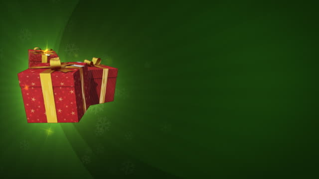 Flying gifts on a christmas background video