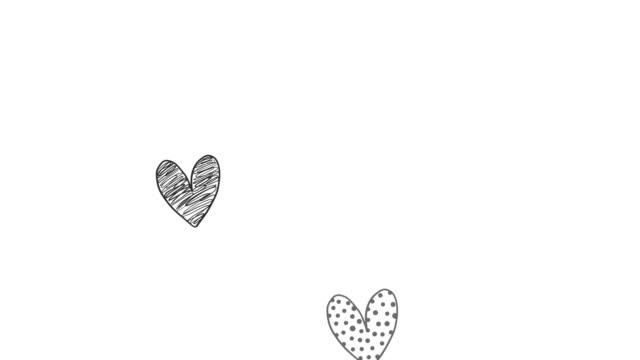 летающие сердца, нарисованный вручную стиль. валентинки и свадебные концепции. анимация на белом фоне. - набросок стоковые видео и кадры b-roll