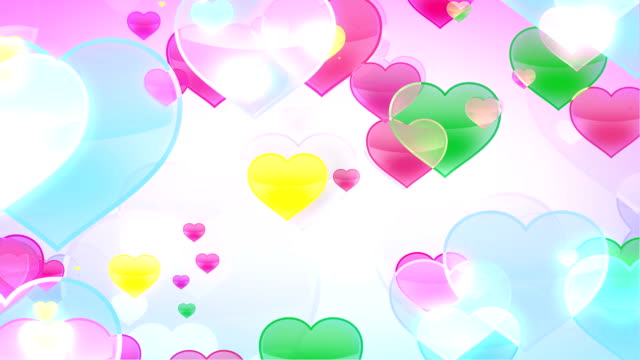 Flying Hearts on White Background video