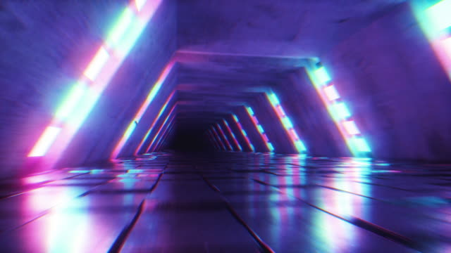 Flying in futuristic tunnel with fluorescent ultraviolet lights. Sci-fi interior corridor. Modern neon blue purple light spectrum. 3D render seamless loop animation 4k UHD