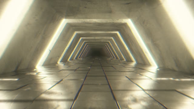Flying in futuristic tunnel with fluorescent ultraviolet lights. Sci-fi interior corridor. Modern light spectrum. 3D render seamless loop animation 4k UHD