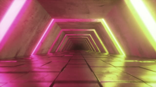 Flying in futuristic tunnel with fluorescent ultraviolet lights