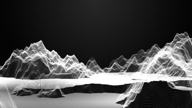 flying in abstrakt partikel bergslandskap. wave ytan av partiklar. 3d illustration bakgrund - map oceans bildbanksvideor och videomaterial från bakom kulisserna