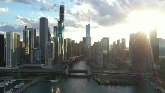 Flying into Downtown Chicago and Riverwalk Aerial View of Downtown Chicago - Navy Pier in Summer - June 2019 chicago stock videos & royalty-free footage