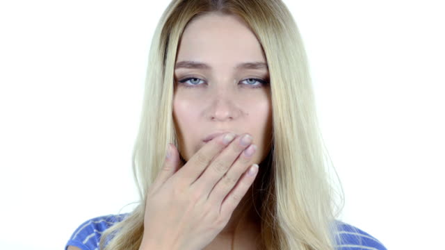 Flying Kiss by Cute Beautiful Woman, White Background video