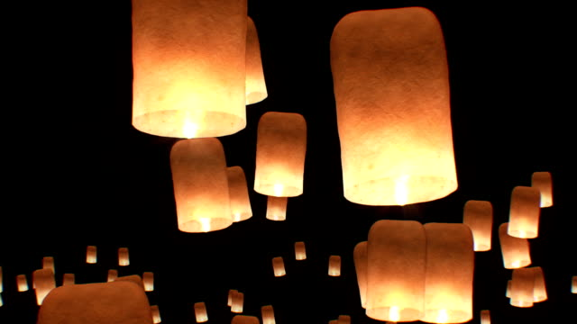 Flying Lanterns in Yeepang Festival. Beautiful 3d animation. No people. HD 1080. video