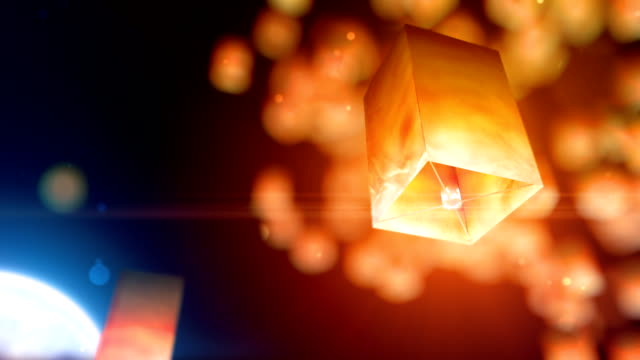 flying lanterns - sky lantern stock videos and b-roll footage