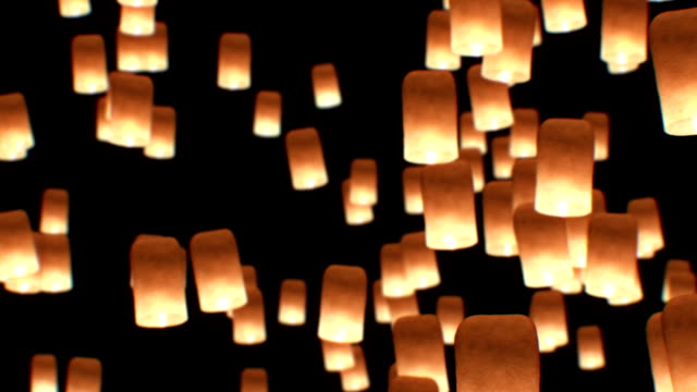 flying lanterns yeepang festival. beautiful 3d animation. hd 1080. close-up view. - lanterna attrezzatura per illuminazione video stock e b–roll