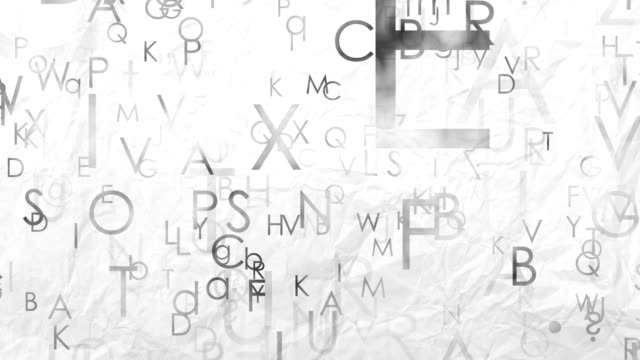 Flying letters of English alphabet at the paper background. Letters abstract 3D motion on the paper background. Flying letters of English alphabet. Abstract white gray loop seamless background typescript stock videos & royalty-free footage