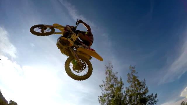 Flying on motocross bike. video
