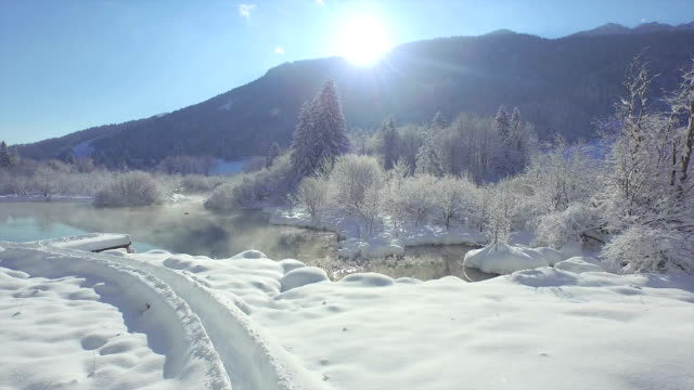 AERIAL: Flying out of winter forest over beautiful snowy lake video