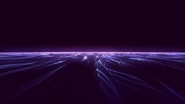 flying over a neon retro-futuristic plain towards a dark horizon background animation - czarna dziura filmów i materiałów b-roll
