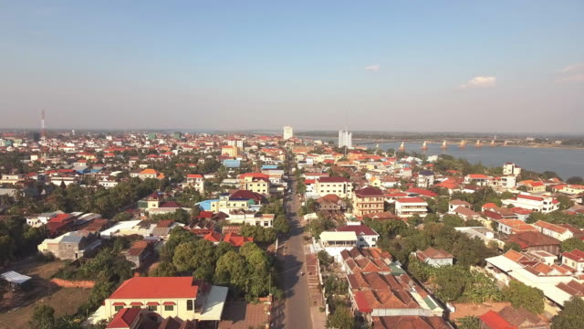flying over a typical Asian town's main street. video
