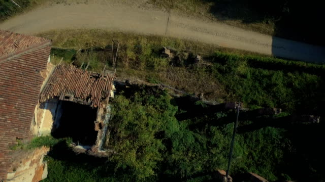 Flying over abandoned farmhouse video
